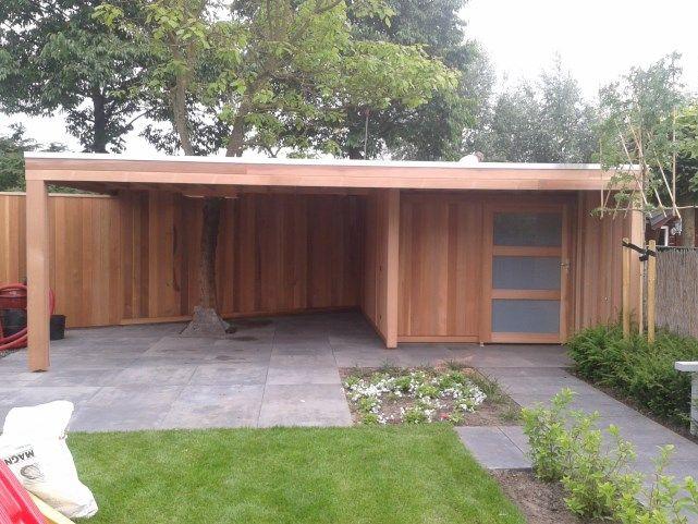 tuinhuis, schuurtje of berging met platdak, en luifel, lounge gedeelte, moderne of rustieke uitstraling, met een strak design of juist landelijke sfeer. | Prins Tuinhuisjes