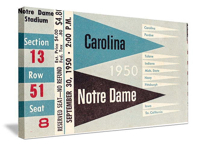 Football gifts made from authentic football tickets! 1950 Notre Dame vs. North Carolina canvas art. The best football gifts are at http://www.shop.47straightposters.com/