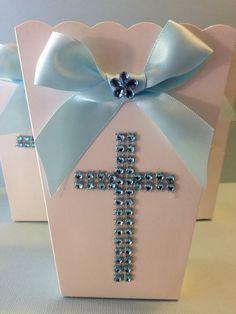 Popcorn Boxes Favor Goody Bag Baptism Favor by designsbyemilys