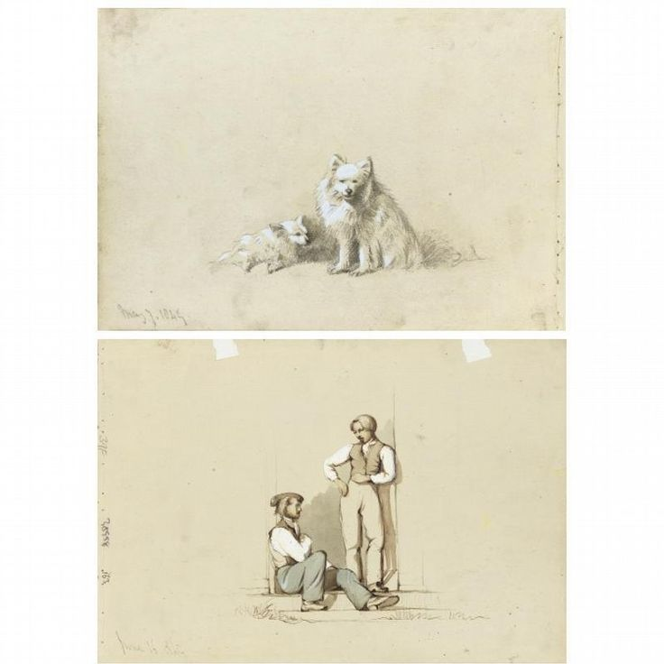 REVEREND CALVERT R. JONES, 1804-1877,  POMERANIANS, 7TH MAY 1849  171 by 250mm (6¾ by 9 7/8 in.)  Pencil heightened with wash, dated in pencil lower left, the reverse with an ink and wash figure study dated 16th June 1849,  NOTE  Jones's work as an artist is a fascinating reminder of the extent to which his interest as a photographer coincided with his earlier but lasting interests as an artist. For a series of photographs of Jones's white Pomeranian dog, including three with the…