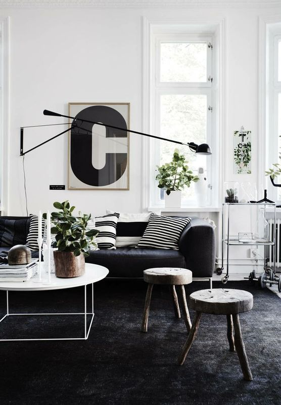 Oversized Letters Used As Art On Walls In Living Room Dark CarpetBedroom InteriorsWhite