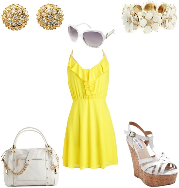 """Yellow dress - Casual"" by brittjade ❤ liked on Polyvore"