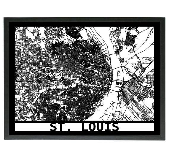St. Louis Laser Cut 3D Street Map Wooden Framed by LaserMaps
