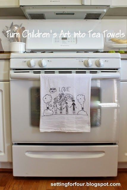Turn Kid's art into tea towels! Fun DIY to do with the kids and great gift idea for Mother's Day, birthdays, teacher gift, hostess gift and holiday gifts! Grand parent's will LOVE this! See how to make it at Setting for Four/
