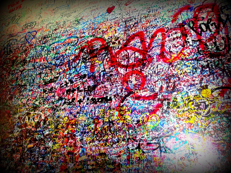 The wall outside of Juliets balcony in Verona. My name is somewhere on that wall (: