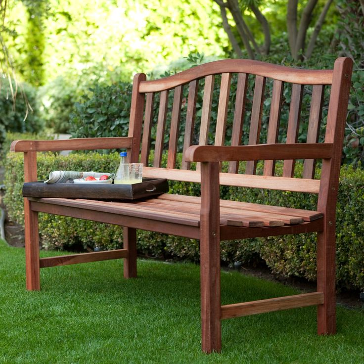Belham Living Richmond Curved-Back 4-ft. Outdoor Wood Bench | from hayneedle.com
