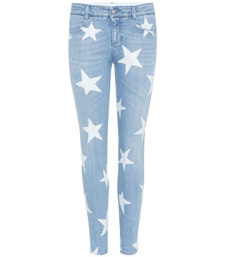 STELLA MCCARTNEY Printed Denim Skinny Jeans. #stellamccartney #cloth #jeans