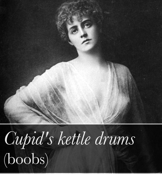 """21 Victorian Slang Terms It's High Time We Revived-As in: """"Would you mind terribly if I… had a go on your Cupid's kettle drums?"""" Other Victorian terms for breasts: bubbies, coker-nuts."""