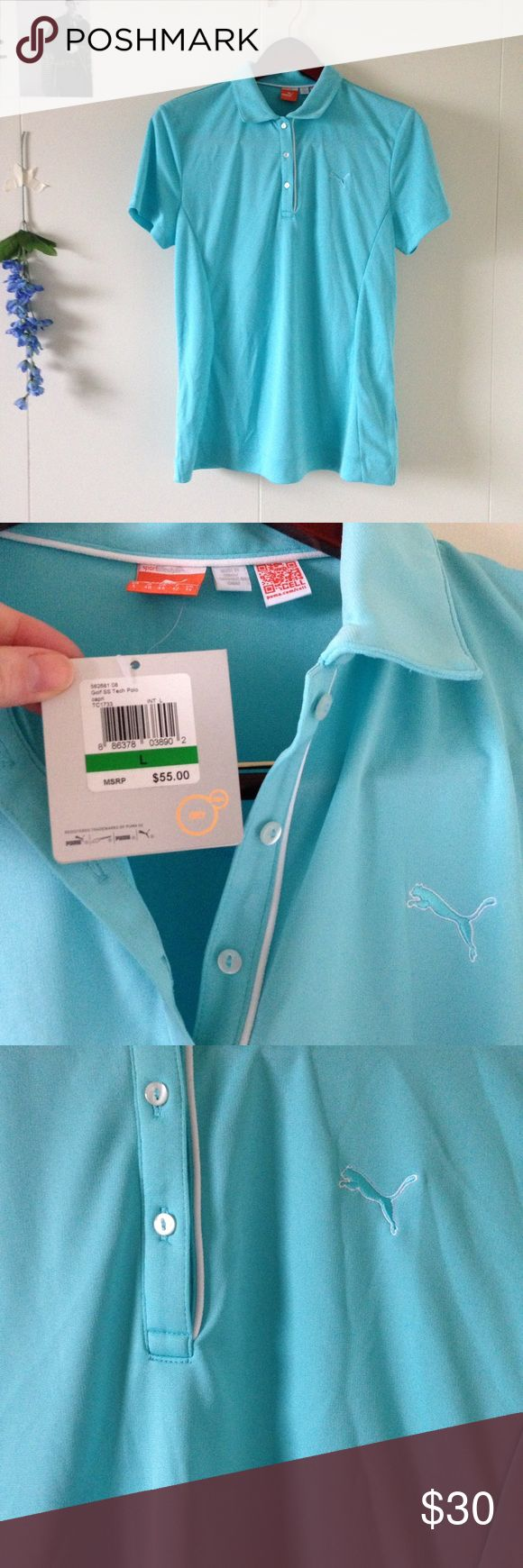 NEW Puma golf blue turquoise shirt top sportswear NEW with tags! Lovely sportswear! 🔹💙🔹 Puma Tops Tees - Short Sleeve