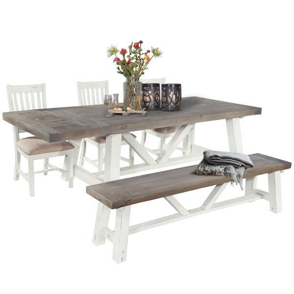 Large Dorset Reclaimed Wood Trestle Table Dining Set Wood