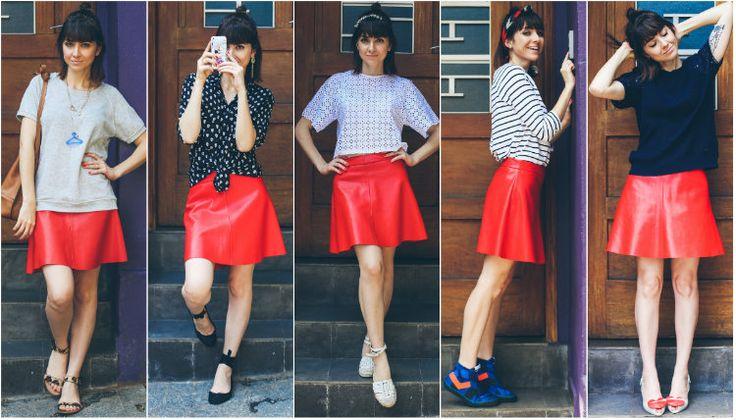 como usar saia vermelha, saia de couro, saia em A, 1 saia 5 looks, red skirt, A line skirt