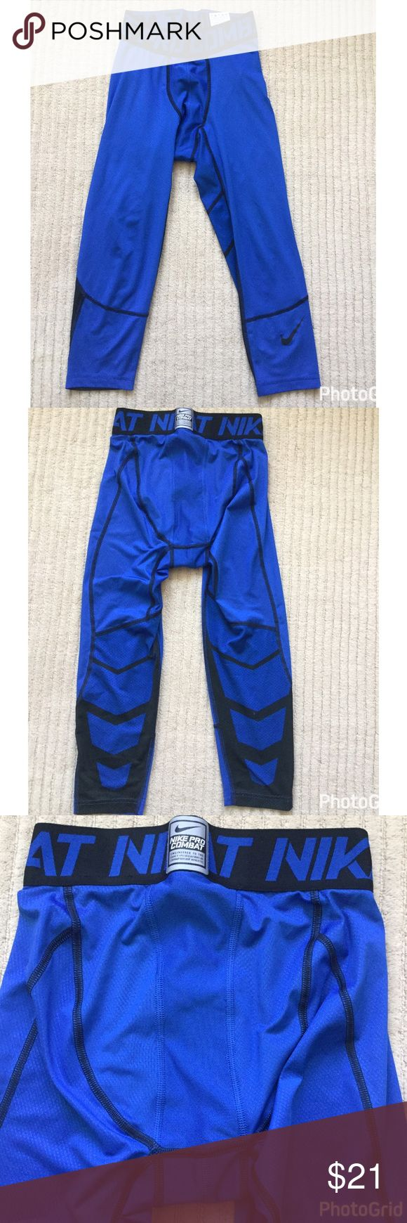 💜 Nike Pro Combat Men Basketball Tights Size S 3/4 Length layering Men's Basketball Tights in size S.  See pictures of the back of the right leg.  It has a few flaws and small hole but they are wearable and that can be easily fixed.  Please ask any questions. Blue with black. Nike Underwear & Socks