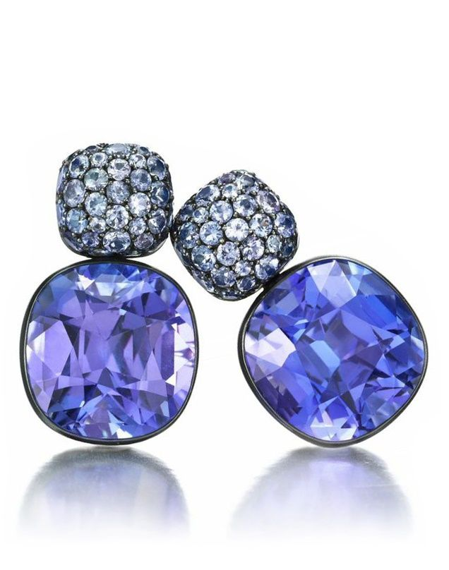 A PAIR OF TANZANITE AND WHITE GOLD EAR PENDANTS, BY HEMMERLE:   Each set with a cushion-cut tanzanite, together weighing 38.74 carats, to the pave-set tanzanite surmount, mounted in white gold, signed Hemmerle.