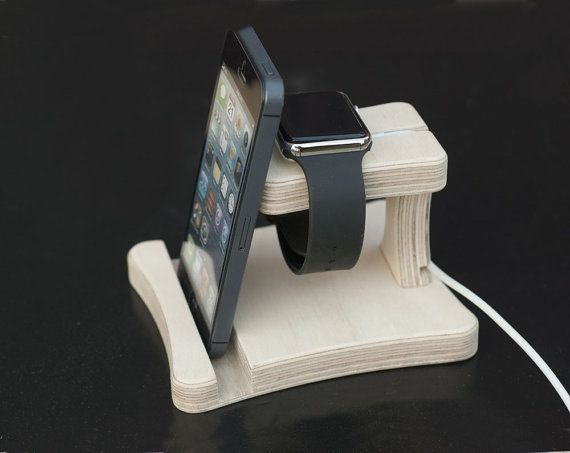 Apple watch stand Iphone holder Docking station wood Apple watch dock Phone stand for desk organization Birthday gift for boyfriend annivers – Phone H…