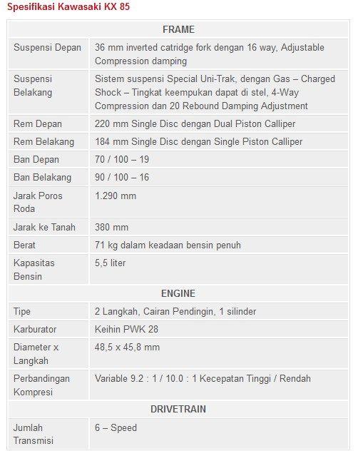 Spesifikasi dan Harga Kawasaki KX 85 Terbaru   JaLu NgeduL