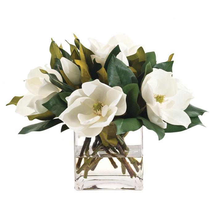 Ndi Faux Magnolia Arrangement I Flowers Square Glass Vase
