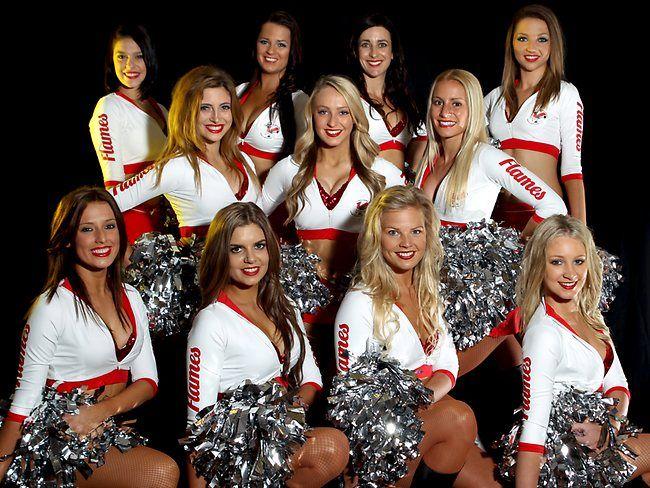 "St George Illawarra Dragons cheerleaders ""The Flames""."