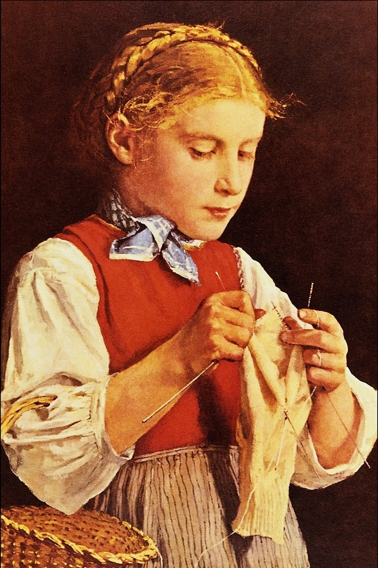 Young Girl Knitting by Albert Anker (1831-1910)