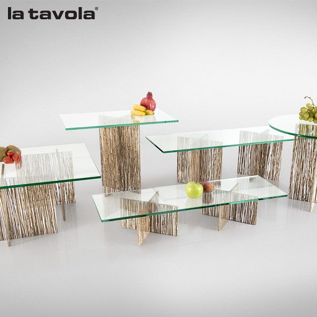 'Thatch' risers with hardened transparent glass tops from our Mineral…