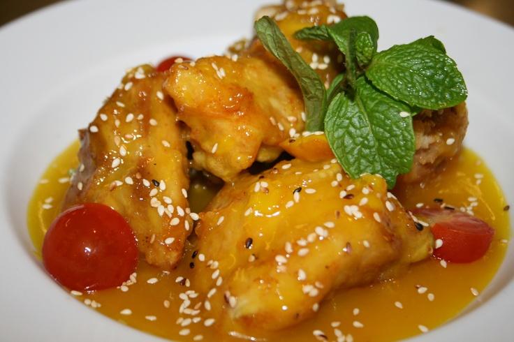 Golden Lemon Honey Chicken at Monsoon Poon