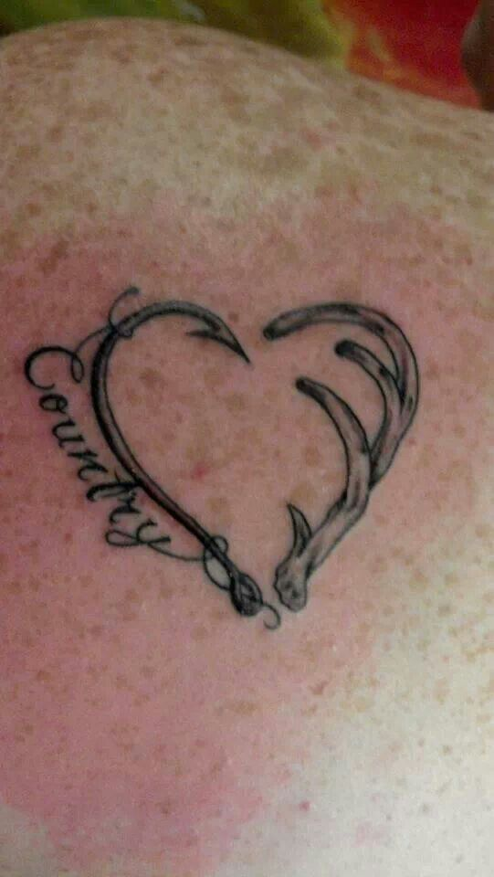 country antler fish hook heart tattoo me likey