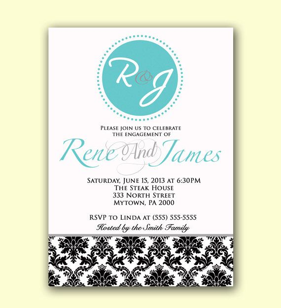 Teal Blue Engagement Party Invitation Dinner Party Invite Damask Adult Party Invite  JPEG file (22) by PurpleChicklet on Etsy https://www.etsy.com/listing/174510799/teal-blue-engagement-party-invitation