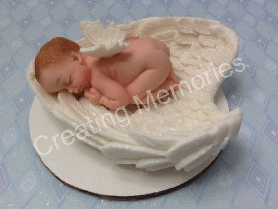 Baby Laying on Angel Wings/Baby Shower/First Communion/Christening/Edible Cake Topper made with White Vanilla Fondant Boy or Girl