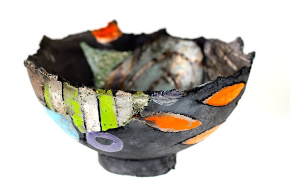 Ceramic and pottery raku bowl by Annemette Klit  by TheClayPlay, $175.00