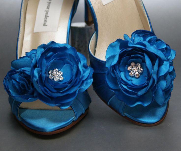 Wedding Shoe Clips --  Turquoise Trio of Flowers Wedding Shoe Clips