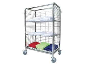 LINEN DISTRIBUTION TROLLEY  - Side hanging rails                   - Fold straight from dryer onto trolley for efficient delivery  - Designed to roll straight into linen closets  - Alleviates double handling  - Large Rubber Wheels (2 lockable) - 1425(h) x 985(w) x 545(d)
