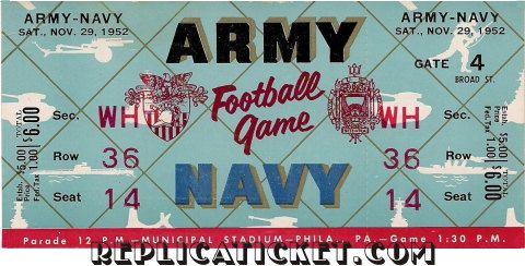 5   1952  1962   Army vs  Navy  replicas of full by thundertix