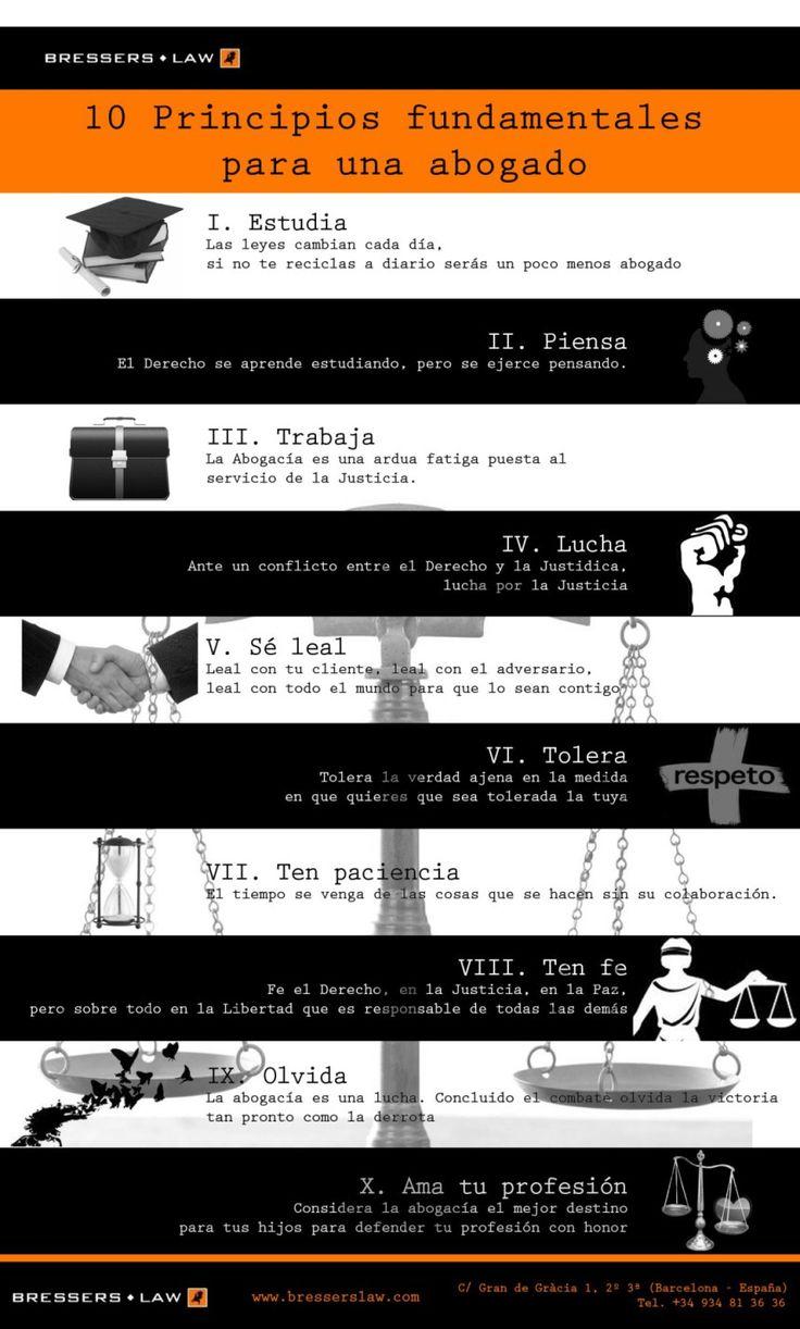 10 principios fundamentales para un abogado. #infografías #derecho #abogados