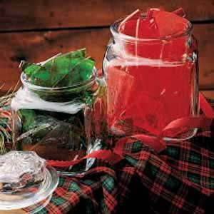 """""""Christmas Hard Candy""""    When you make a batch of this beautiful jewel-toned candy, your whole house fills with wonderful scents of mint or cinnamon. My mom always makes this candy, and people request it every year. She puts it in clear jars with a holiday calico fabric on the lid. Now I've started making it, too. -Jane Holman, Moultrie, Georgia"""