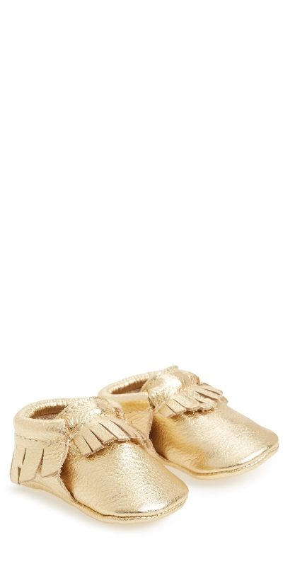 These baby metallic moccasins are just too cute!