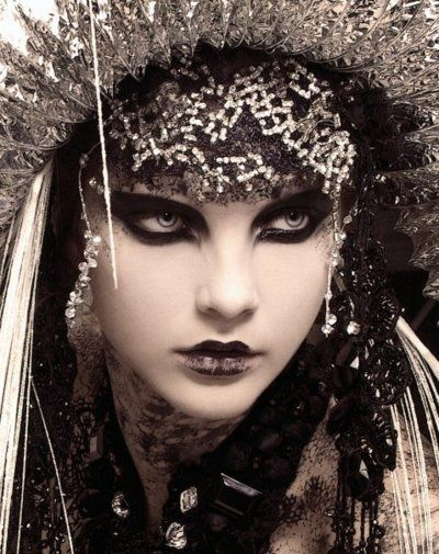 Amazing black eye makeup. Goth Russian Princess.