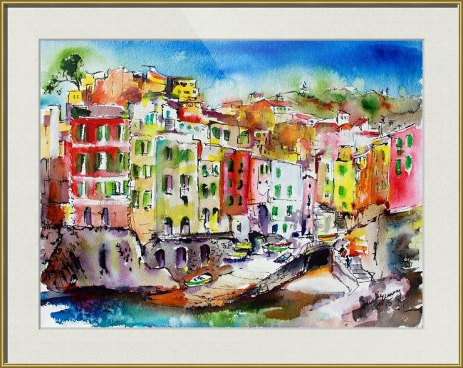 Riomaggiore Italy Cinque Terre Watercolor And Ink By Ginette