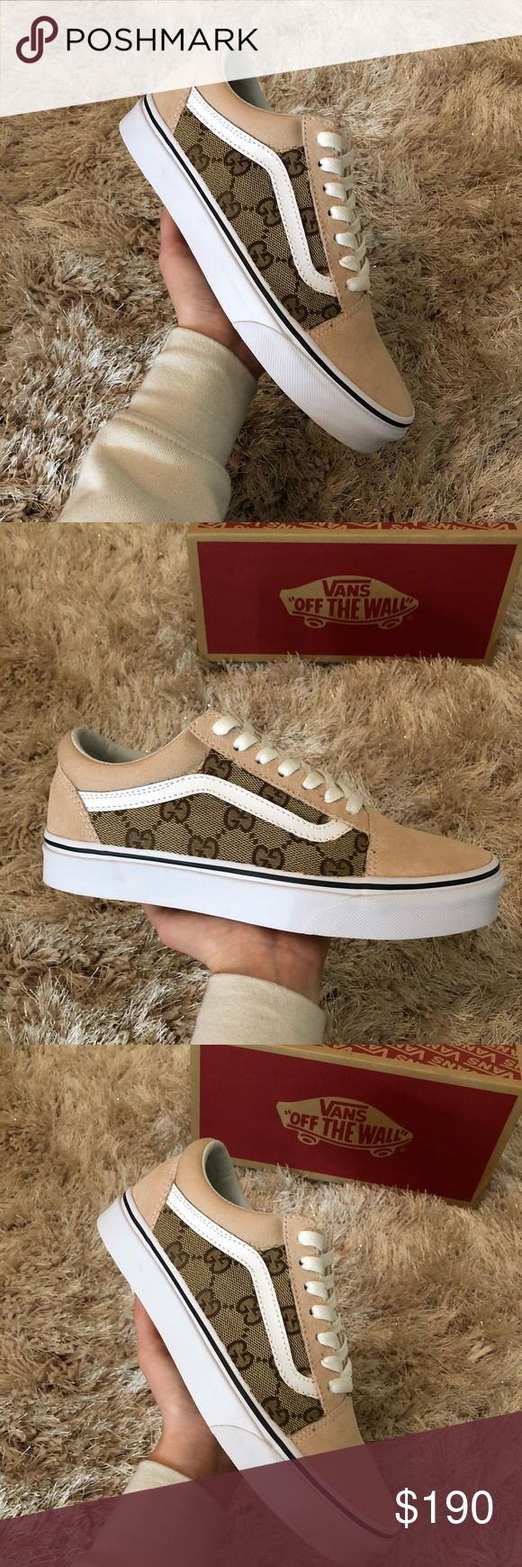 Old Skool Vans in the color frappe 100% Authentic and brand new with tags  Customized with Gucci fabric  Gucci fabric is located on the outsides of each shoe.  All sizes available Vans Shoes