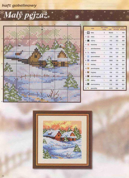wintery house/cabin, snowy day cross stitch