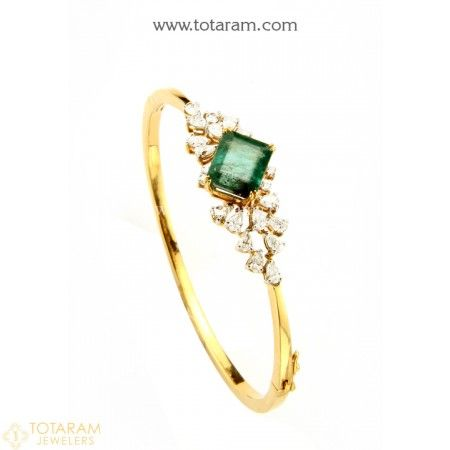 18K Gold Diamond Bracelet With Emerald  - 235-DBR180 - Buy this Latest Indian Gold Jewelry Design in 15.550 Grams for a low price of  $5,011.95