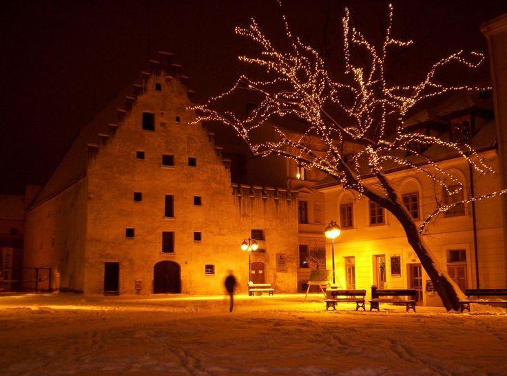 Piarist Square in České Budějovice, Czechia #night #square #city #czechia