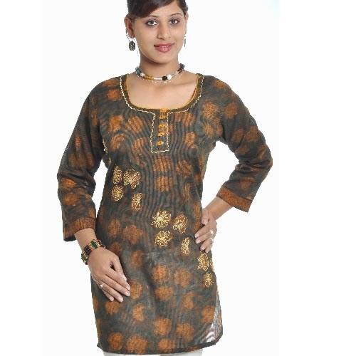 Different Deep Brown Discharge Print Kurta with Zari Embroidery #Print #Kurta #Embroidery