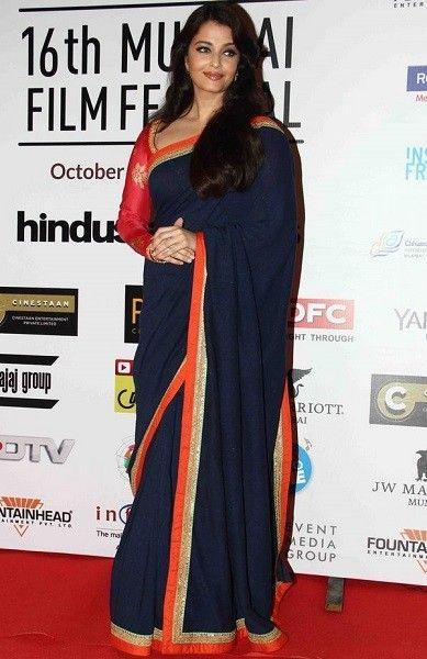Buy Aishwarya Rai Georgette Plaine Lace Work Blue Color Bollywood Sarees Online At Zoyaclothing.com    #sarees #bollywoodsarees #designersaree #sareesonline #glamor