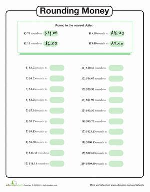 Third Grade Rounding & Estimation Worksheets: Rounding Money to the Nearest  Dollar