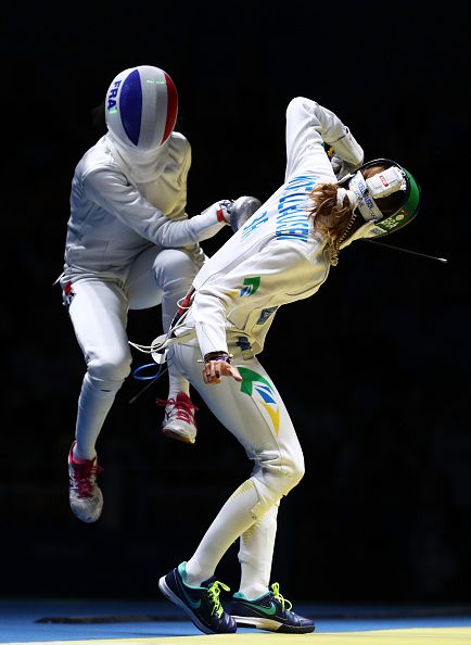 #RIO2016 Best of Day 1 - Nathalie Moellhausen of Brazil in action against Lauren Rembi of France during the Women's Individual Epee Quaterfinal on Day 1 of the Rio 2016...