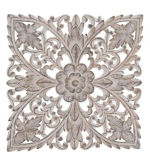 WOODEN WALL DECOR IN WHITE-GOLD COLOR 70Χ3Χ70