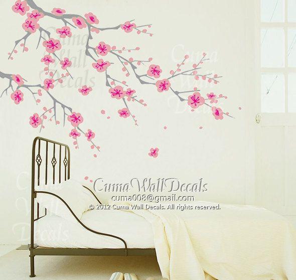 pink Cherry blossom wall decals white flower vinyl mural nature wall sticker children decals nursery wall mural- cherry blossom Z163 cuma
