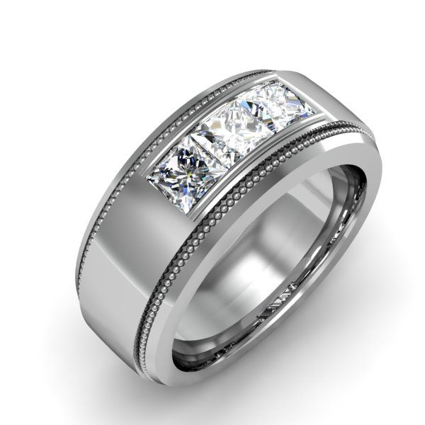 Mens Wedding Band with Diamonds and Milgrain Design  http://karatjewelrygroup.com/