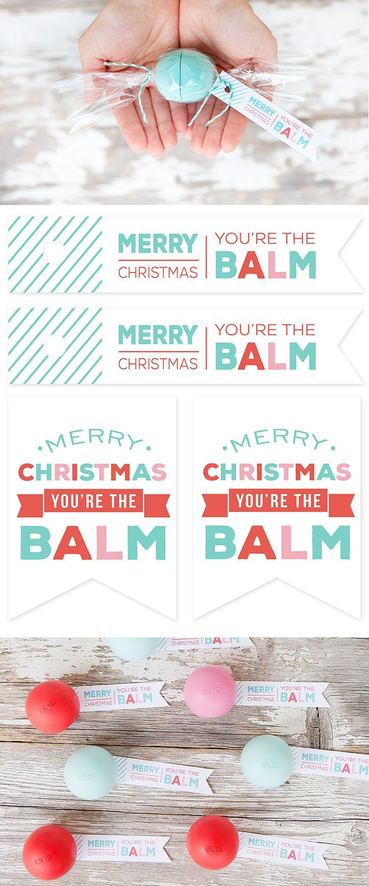 """EOS Lip Balm """"Candies"""" and FREE Printable Gift Tags. Simple and inexpensive Christmas gift idea for friends, tweens, teachers."""