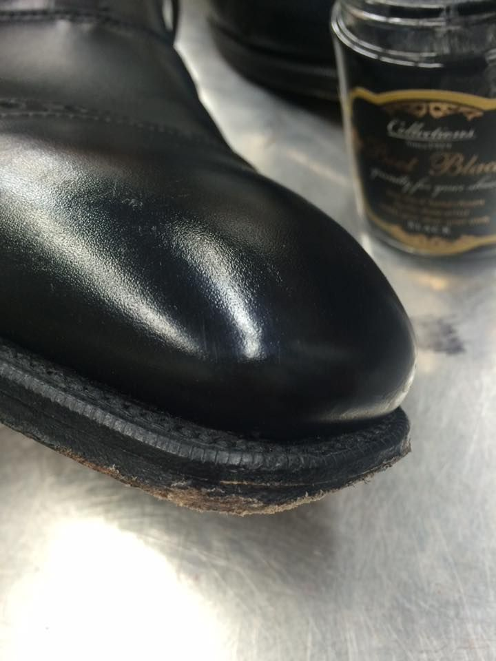 creamed + polished with the Artist Palette No 1: Boot Black shoe care