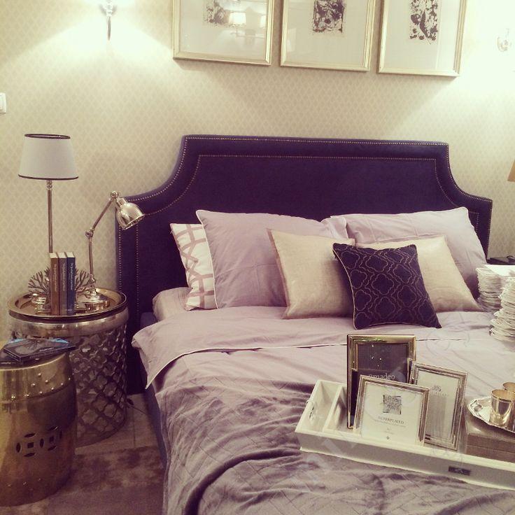 Łóżko SOHO - Upholstered Bed Headboard by Mint Grey; Navy & Gold